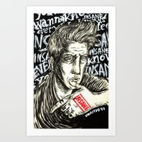 queens of the stone age Art Prints featuring INSANE Josh Homme (QOTSA - Queens Of The Stone Age) by Unaitxo