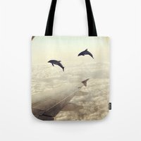 dolphins Tote Bags featuring Dolphins by Paula Belle Flores