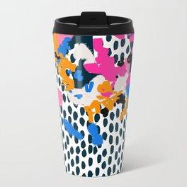 Kenzi - abstract painting minimal hot pink blue dots color palette boho hipster decor nursery Travel Mug