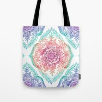 indian Tote Bags featuring Indian Ink - Rainbow version by micklyn