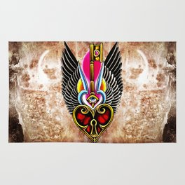 trad wing key heart Rug