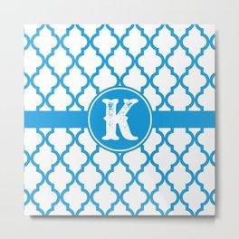 Blue Monogram: Letter K Metal Print