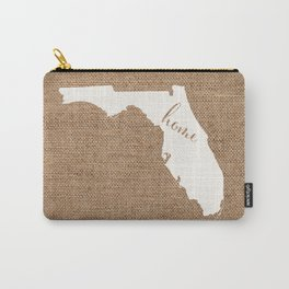 Florida is Home - White on Burlap Carry-All Pouch
