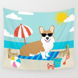 Corgi Summer Beach Day Sandcastles Dog Art Wall Tapestry
