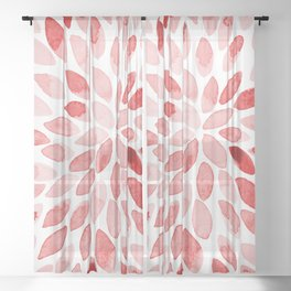 Watercolor brush strokes - red Sheer Curtain