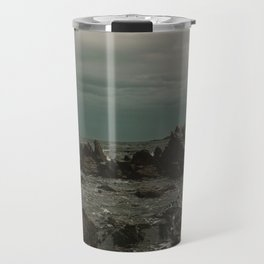 Dark Blue Rocky Ocean Travel Mug