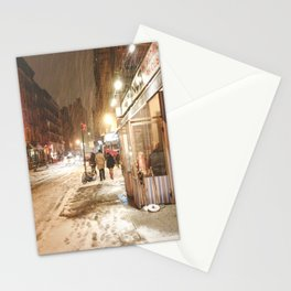 New York City - Snow at Night - Ludlow Street Stationery Cards