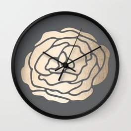 Rose in White Gold Sands on Storm Gray Wall Clock