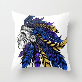 American Native Chieftain Head Throw Pillow