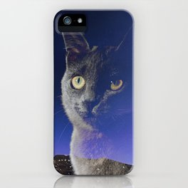 Cat and night sky iPhone Case