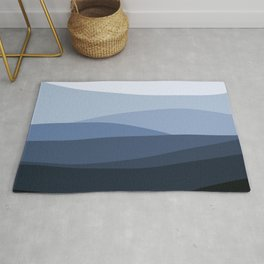 Mountain, Landscape, Blue, Ombre Paintings Rug