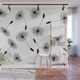 Dandelion Flowers pattern black & white Wall Mural
