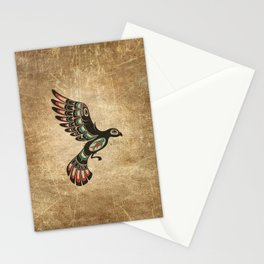 Red and Green Haida Spirit Flying Bird Stationery Cards