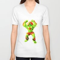 street fighter V-neck T-shirts featuring Street Fighter II - Blanka by Carlo Spaziani