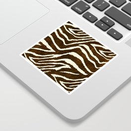 ANIMAL PRINT ZEBRA IN WINTER 2 BROWN AND BEIGE Sticker