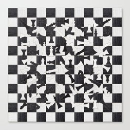 Chess Figures Pattern - Wood black and white Canvas Print