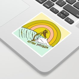 spread sunshine lady slide rainbow surf Sticker