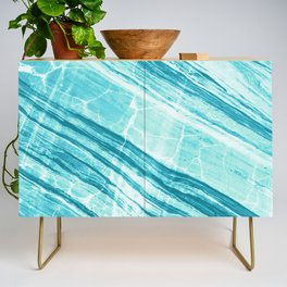 Abstract Marble - Teal Turquoise Credenza