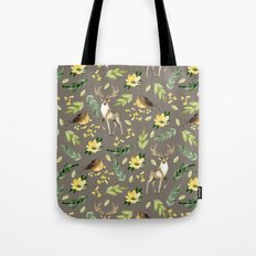 Deer and birds Tote Bag