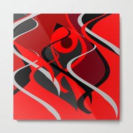 upstream red black grey abstract digital painting Metal Print