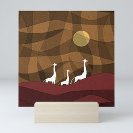 Beautiful warm giraffe family design Mini Art Print