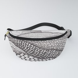 Patterns on Patagonia / Black and White Mountain Drawing / Abstract Mountain Landscape Fanny Pack