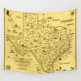 Literary Map of Texas (1955) Wall Tapestry