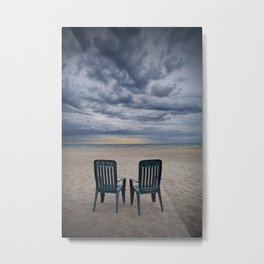 Sunrise on the Beach with Two Chairs at Oscoda Michigan Metal Print