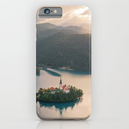 Lake Bled Island with Church at Sunset | Slovenia Travel | Europe Drone Aerial Photography iPhone Case