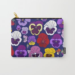 Pansy Flowers Spring Illustration Carry-All Pouch