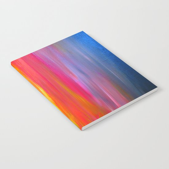 BRIGHT HORIZONS Bold Colorful Rainbow Pink Yellow Blue Abstract Painting Sunrise Sunset Stripes  Notebook