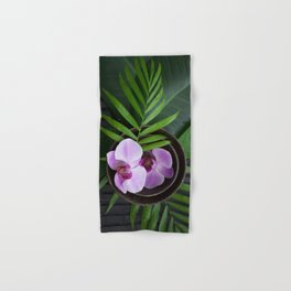 Zen Style Pink Orchids And Palm Leaf Hand & Bath Towel