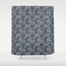 Abstract Geometrical Triangle Patterns 2 Benjamin Moore 2019 Trending Color Hale Navy Blue Gray HC-1 Shower Curtain