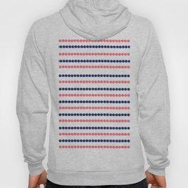 Modern nautical blue coral polka dots stripes pattern Hoody