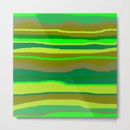 Green Multi Brush Strokes Metal Print