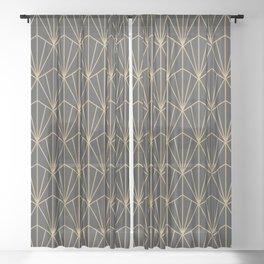 Art Deco Vector in Charcoal and Gold Sheer Curtain