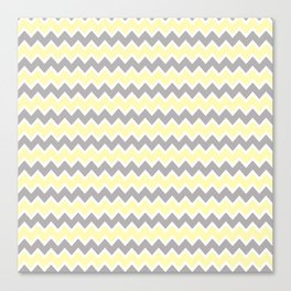Grey Gray and Yellow Chevron Canvas Print