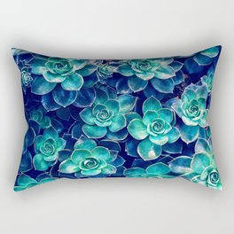 Plants of Blue And Green Rectangular Pillow