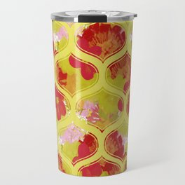 Garden Charm IV:  Shabby Floral and Geometric in Bright Orange and Yellow with Dog Travel Mug