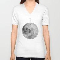 lunar V-neck T-shirts featuring Lunar balance by Tony Vazquez