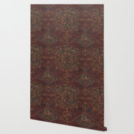 Boho Chic Dark V // 17th Century Colorful Medallion Red Blue Green Brown Ornate Accent Rug Pattern Wallpaper