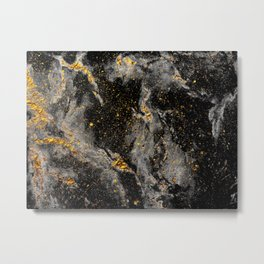 Galaxy (black gold) Metal Print