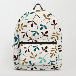 Assorted Leaf Silhouettes Teals Brown Gold Cream Backpack