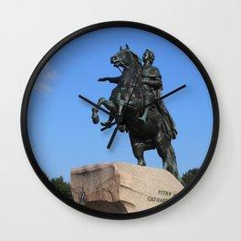 "Bronze monument of Peter the Great. ""Bronze Horseman"" Wall Clock"
