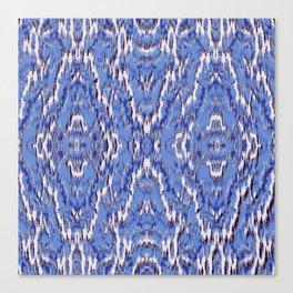 big diamond ikat in blue Canvas Print