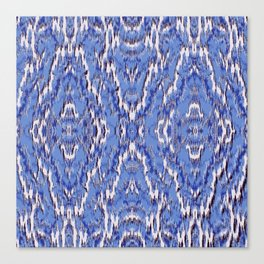 big diamond ikat in blue Canvas Print