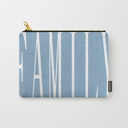 Family word on placid blue background Carry-All Pouch