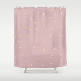 Pretty Pink & Gold Stars Shower Curtain