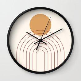 Mid Century Modern Geometric 36 in Terracotta Gold Beige Wall Clock