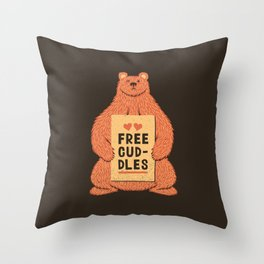 Cute Bear Free Cuddles Orange Throw Pillow